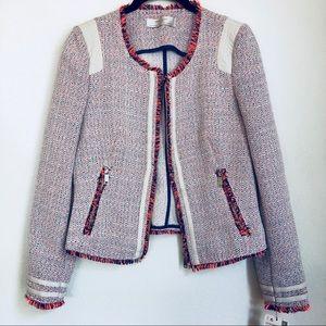NWT Zara Tweed Moto Zip V Leather Jacket Blazer M